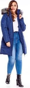Niebieska kurtka TAGLESS w stylu casual długa