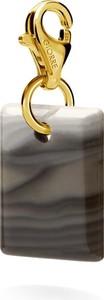 GIORRE SREBRNY CHARMS KRZEMIEŃ PASIASTY 925 : Kolor pokrycia srebra - Pokrycie Żółtym 24K Złotem, Krzemień - Prostokąt