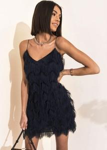 Granatowa sukienka SELFIEROOM z dekoltem w kształcie litery v na ramiączkach mini
