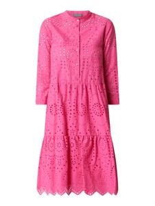 Różowa sukienka White Label z długim rękawem z okrągłym dekoltem midi