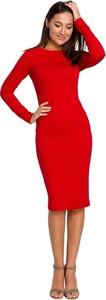 Czerwona sukienka Style z długim rękawem z dzianiny ołówkowa