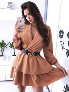 Sukienka Magmac mini z długim rękawem z dekoltem w kształcie litery v