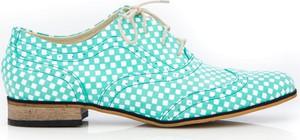 Niebieskie półbuty Zapato ze skóry w stylu casual sznurowane