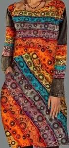 Sukienka Cikelly z okrągłym dekoltem w stylu casual z długim rękawem