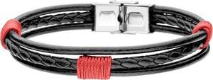 Manoki BA731C czarno czerwona bransoletka z rzemienia