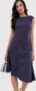 Granatowa sukienka Closet asymetryczna bez rękawów midi