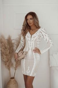 Sukienka Shopaholics Dream z długim rękawem z dekoltem w kształcie litery v