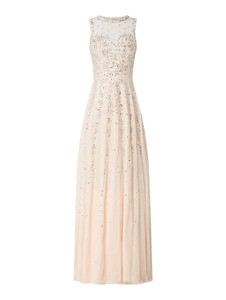 Różowa sukienka Lace & Beads maxi z tiulu