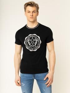 Czarny t-shirt Guess z nadrukiem z krótkim rękawem