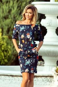 Granatowa sukienka NUMOCO z długim rękawem mini