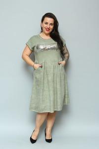 Sukienka KARKO midi z okrągłym dekoltem w stylu casual