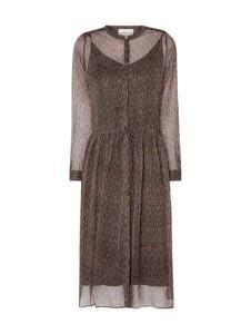 Brązowa sukienka Neo Noir midi w stylu casual z długim rękawem