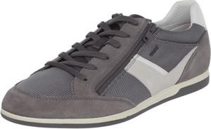 Brązowe buty sportowe Geox ze skóry sznurowane w sportowym stylu