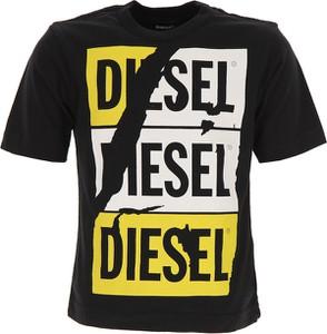 Czarna koszulka dziecięca Diesel z krótkim rękawem z bawełny