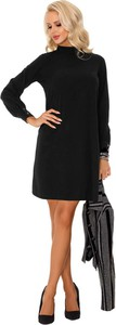 Czarna sukienka MERRIBEL z golfem trapezowa z długim rękawem