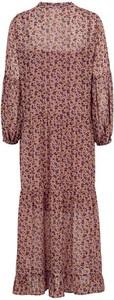 Różowa sukienka Freequent z szyfonu w stylu boho z dekoltem w kształcie litery v