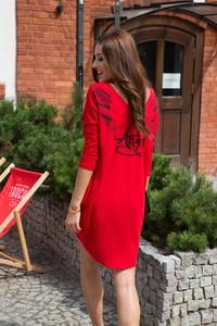 Czerwona sukienka Fasardi z okrągłym dekoltem mini z bawełny