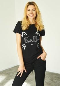 Czarny t-shirt Kelly Couronne z krótkim rękawem z dresówki