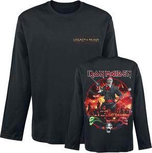 Czarny t-shirt Emp z długim rękawem z nadrukiem w młodzieżowym stylu