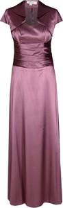 Fioletowa sukienka Fokus rozkloszowana z dekoltem w kształcie litery v