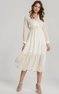 Sukienka Renee rozkloszowana midi z dekoltem w kształcie litery v