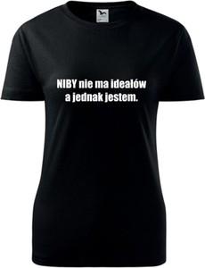 Czarny t-shirt TopKoszulki.pl z okrągłym dekoltem z bawełny