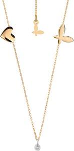 SADVA Złoty naszyjnik z brylantem, serduszkiem i pełnym motylem