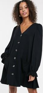 Czarna sukienka Asos Design z dekoltem w kształcie litery v mini koszulowa