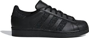 Czarne trampki Adidas z płaską podeszwą superstar niskie
