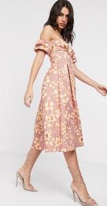 Sukienka Asos midi z dekoltem w kształcie litery v