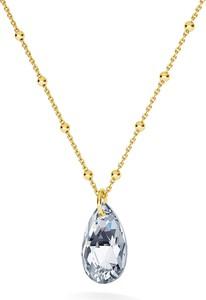 GIORRE ZŁOCONY NASZYJNIK Z KRYSZTAŁEM SWAROVSKIEGO MIGDAŁ : Kolor kryształu SWAROVSKI - Crystal CAL, Kolor pokrycia srebra - Pokrycie Żółtym 24K Złotem