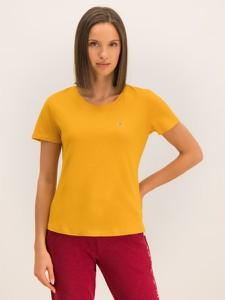 Żółty t-shirt Tommy Jeans z krótkim rękawem w stylu casual z okrągłym dekoltem