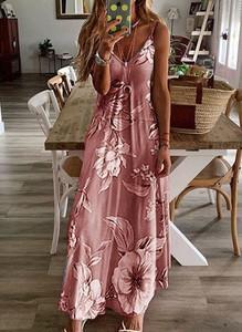 Różowa sukienka Cikelly maxi z dekoltem w kształcie litery v