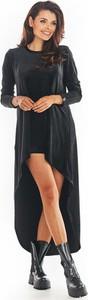 Czarna sukienka Awama z długim rękawem maxi