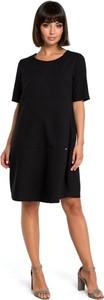 Czarna sukienka Be z krótkim rękawem midi bombka