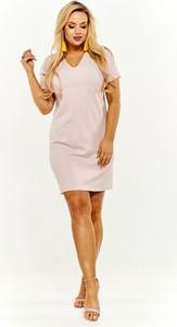 b9976e932c Sukienka ADRAINO INES ROSE trapezowa z dekoltem w kształcie litery v z krótkim  rękawem