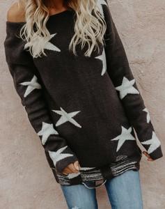 Czarny sweter Elegrina w stylu casual