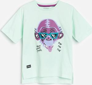 Turkusowa koszulka dziecięca Reserved z krótkim rękawem dla chłopców