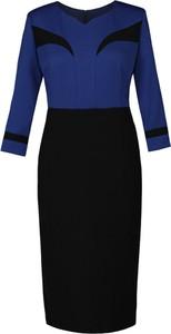 Niebieska sukienka Fokus z długim rękawem