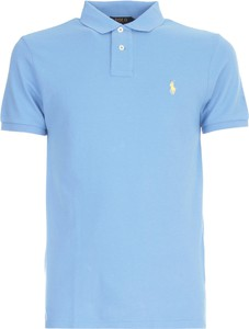 Niebieska koszulka polo POLO RALPH LAUREN w stylu casual z bawełny z krótkim rękawem