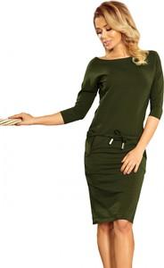 Zielona sukienka NUMOCO z dekoltem w łódkę mini oversize