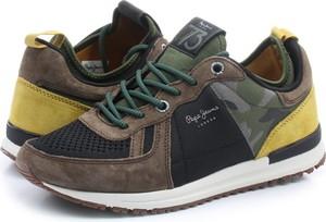 Brązowe buty sportowe Pepe Jeans w sportowym stylu