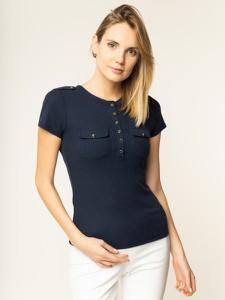 Granatowy t-shirt Guess z krótkim rękawem z okrągłym dekoltem