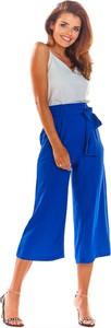 Niebieskie spodnie Awama w stylu retro z tkaniny
