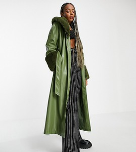 Zielony płaszcz Reclaimed Vintage ze skóry w stylu casual