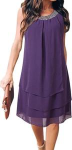 Fioletowa sukienka Arilook bez rękawów z okrągłym dekoltem