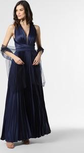 Niebieska sukienka Unique z dekoltem w kształcie litery v