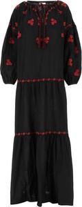Czarna sukienka P.A.R.O.S.H. w stylu casual z długim rękawem
