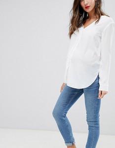 ASOS DESIGN Maternity – Ridley Niebieskie sprane jeansy o obcisłym kroju z pasem pod brzuch