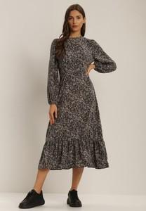 Sukienka Renee z długim rękawem midi z okrągłym dekoltem